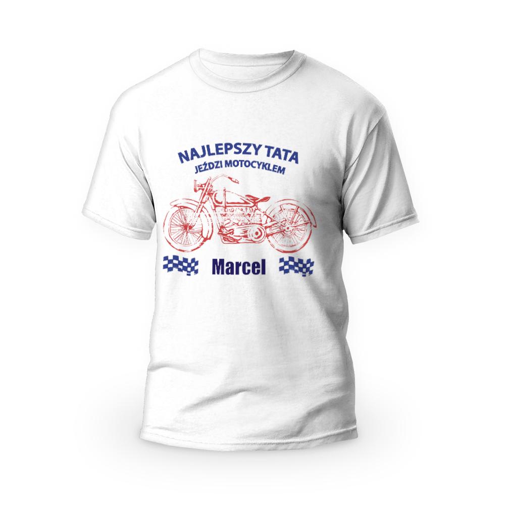 Rozmiar M - koszulka męska z własnym nadrukiem dla taty - Najlepszy tata jeździ motocyklem - biała