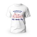 Rozmiar S - koszulka męska z własnym nadrukiem dla taty - Najlepszy tata jeździ motocyklem - biała