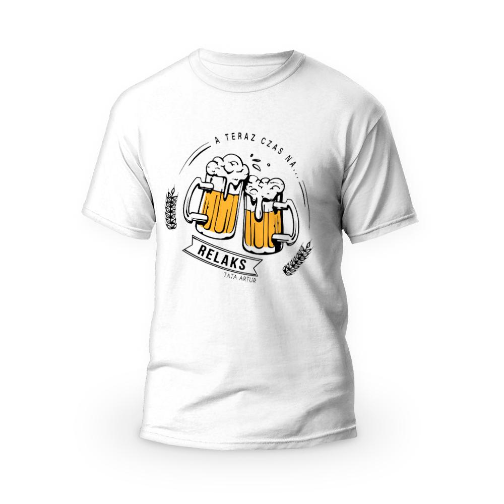 Rozmiar M - koszulka męska z własnym nadrukiem dla taty - miłośnik piwa - biała