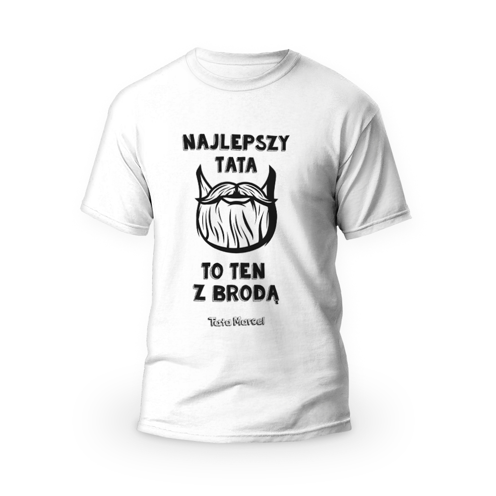 Rozmiar S - koszulka męska z własnym nadrukiem dla taty - tata z brodą - biała