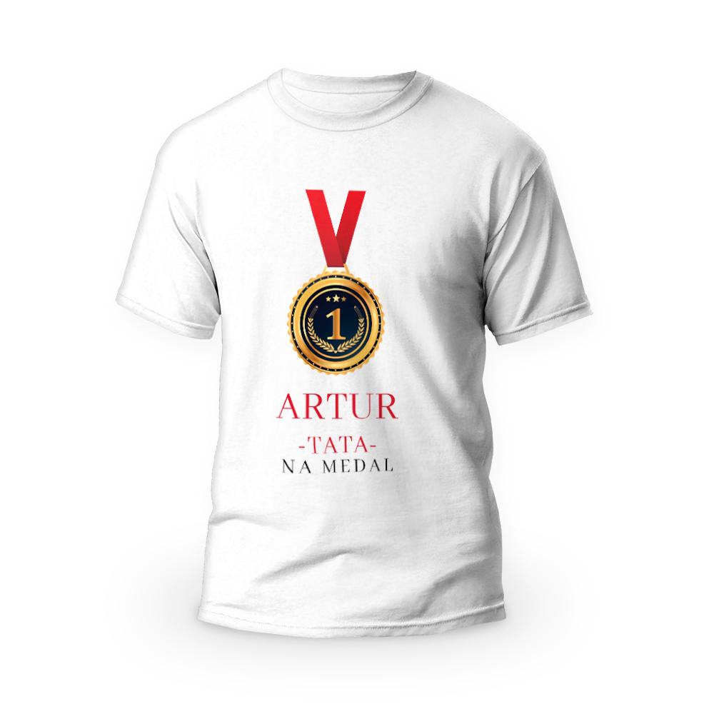 Rozmiar XXL - koszulka męska z własnym nadrukiem dla taty - tata na medal - biała