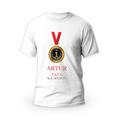 Rozmiar S - koszulka męska z własnym nadrukiem dla taty - tata na medal - biała