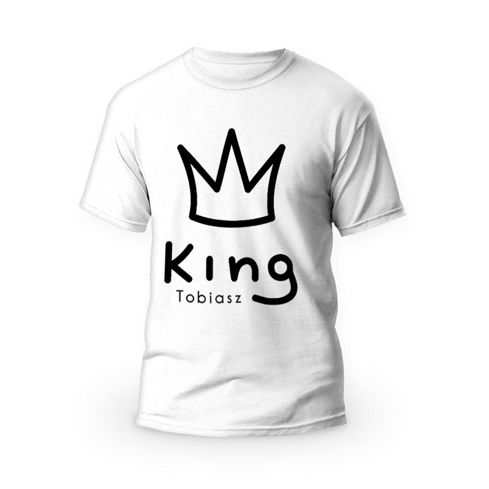 Rozmiar XL - koszulka męska z własnym nadrukiem - King - biała