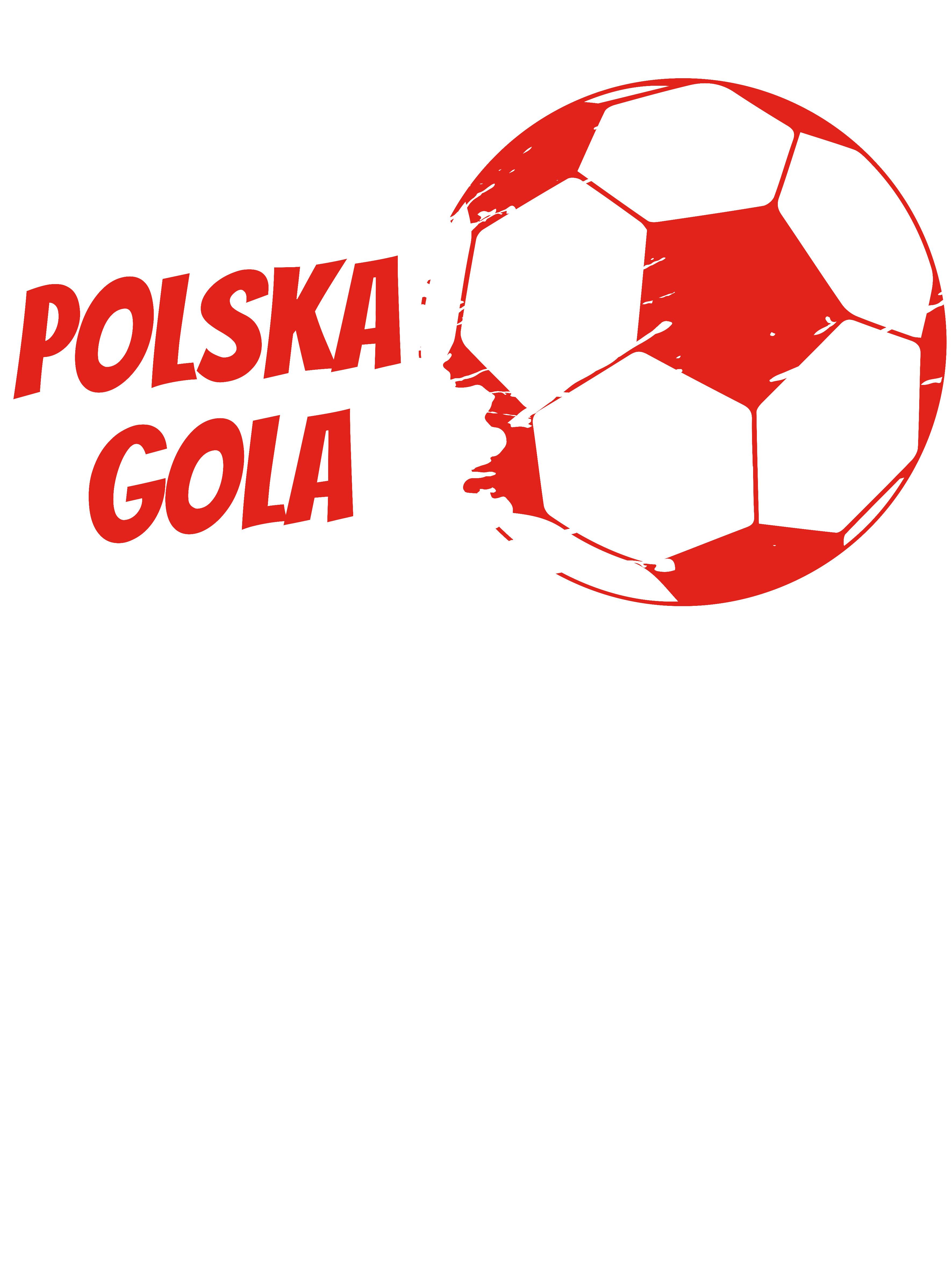 Rozmiar L - koszulka męska z własnym nadrukiem - Euro Polska Gola - biała