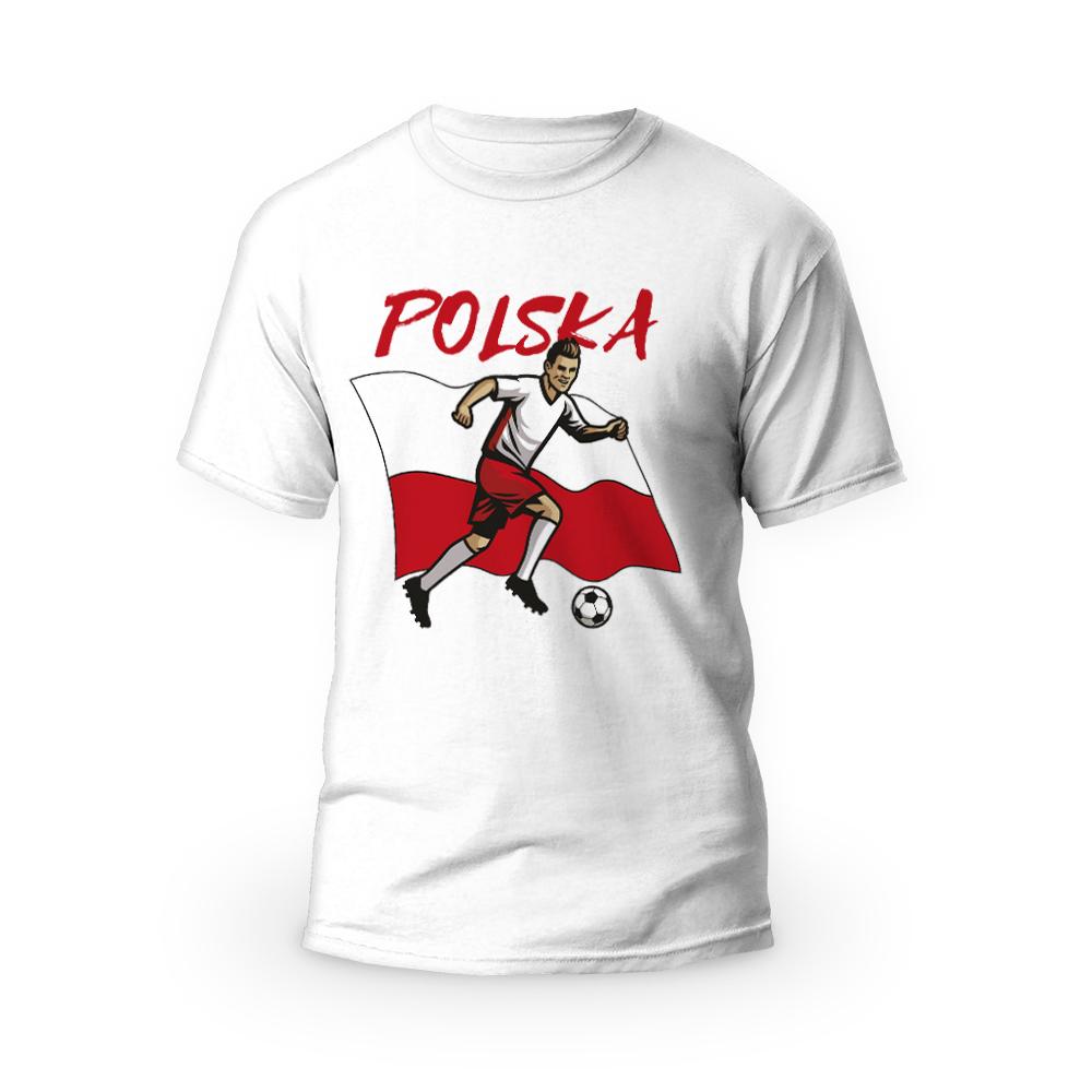 Rozmiar XXXL - koszulka męska z własnym nadrukiem dla kibica - Euro flaga Polski