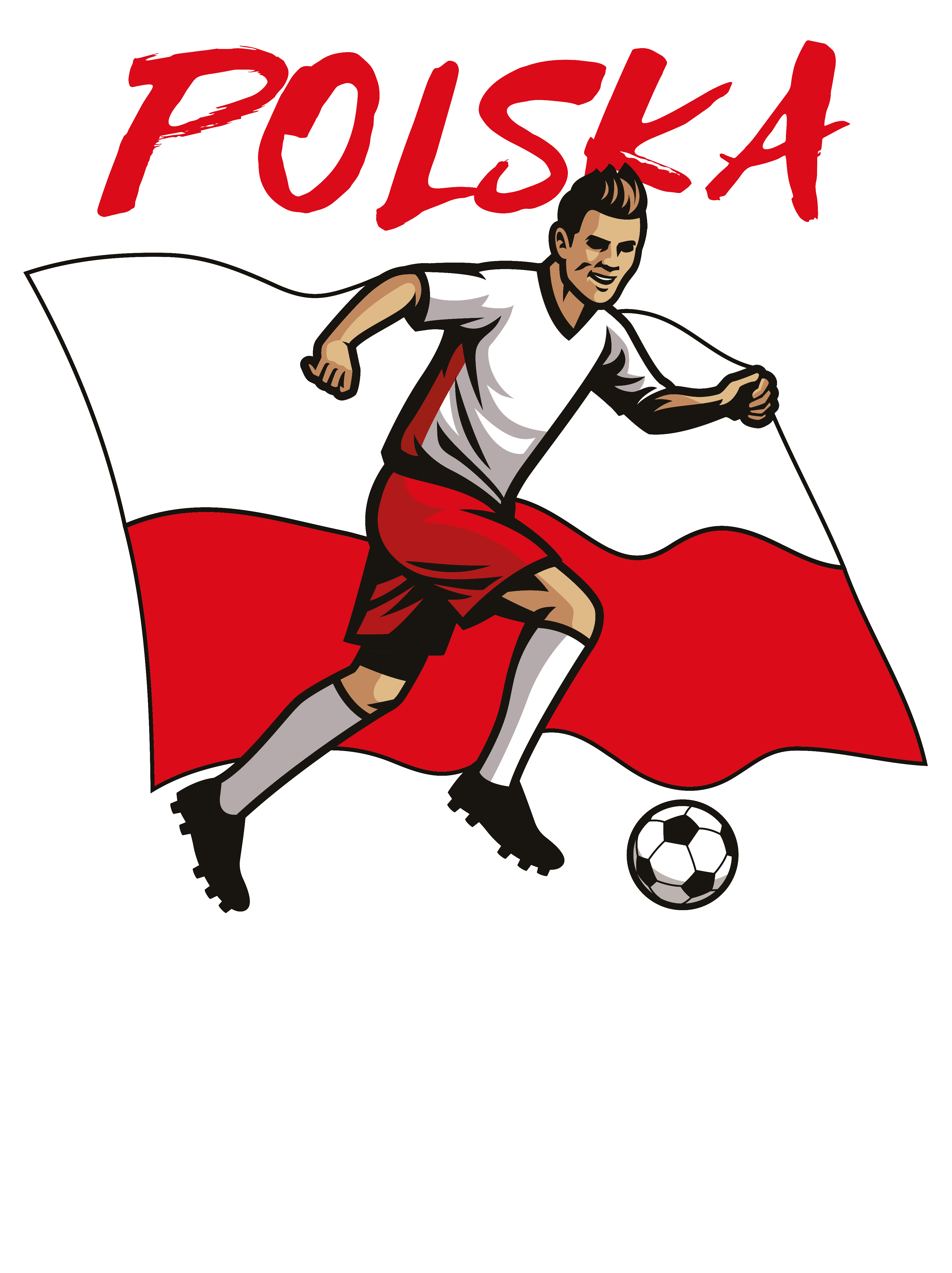 Rozmiar S - koszulka męska z własnym nadrukiem dla kibica - Euro flaga Polski - biała