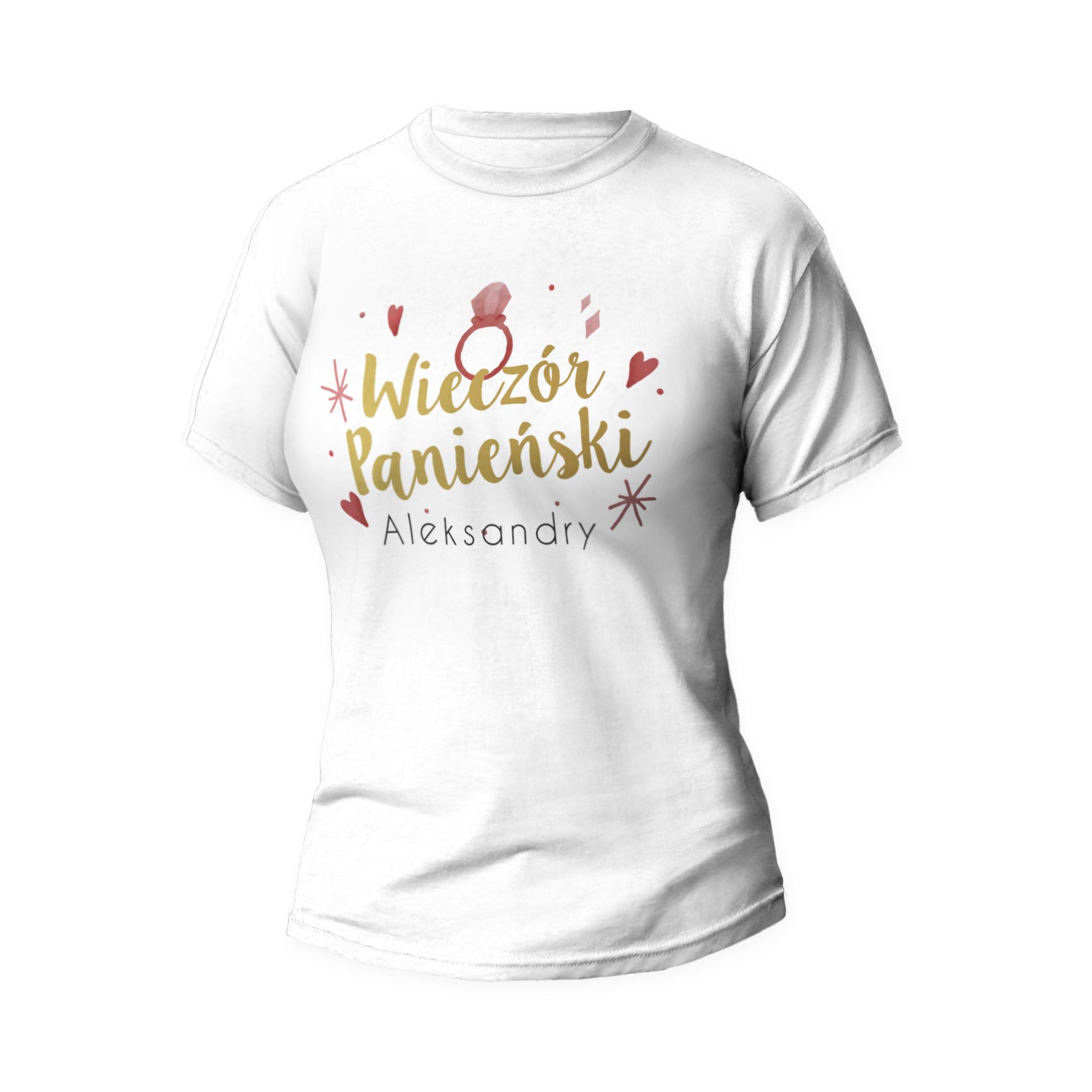 Rozmiar L - koszulka damska z własnym nadrukiem na wieczór panieński - biała