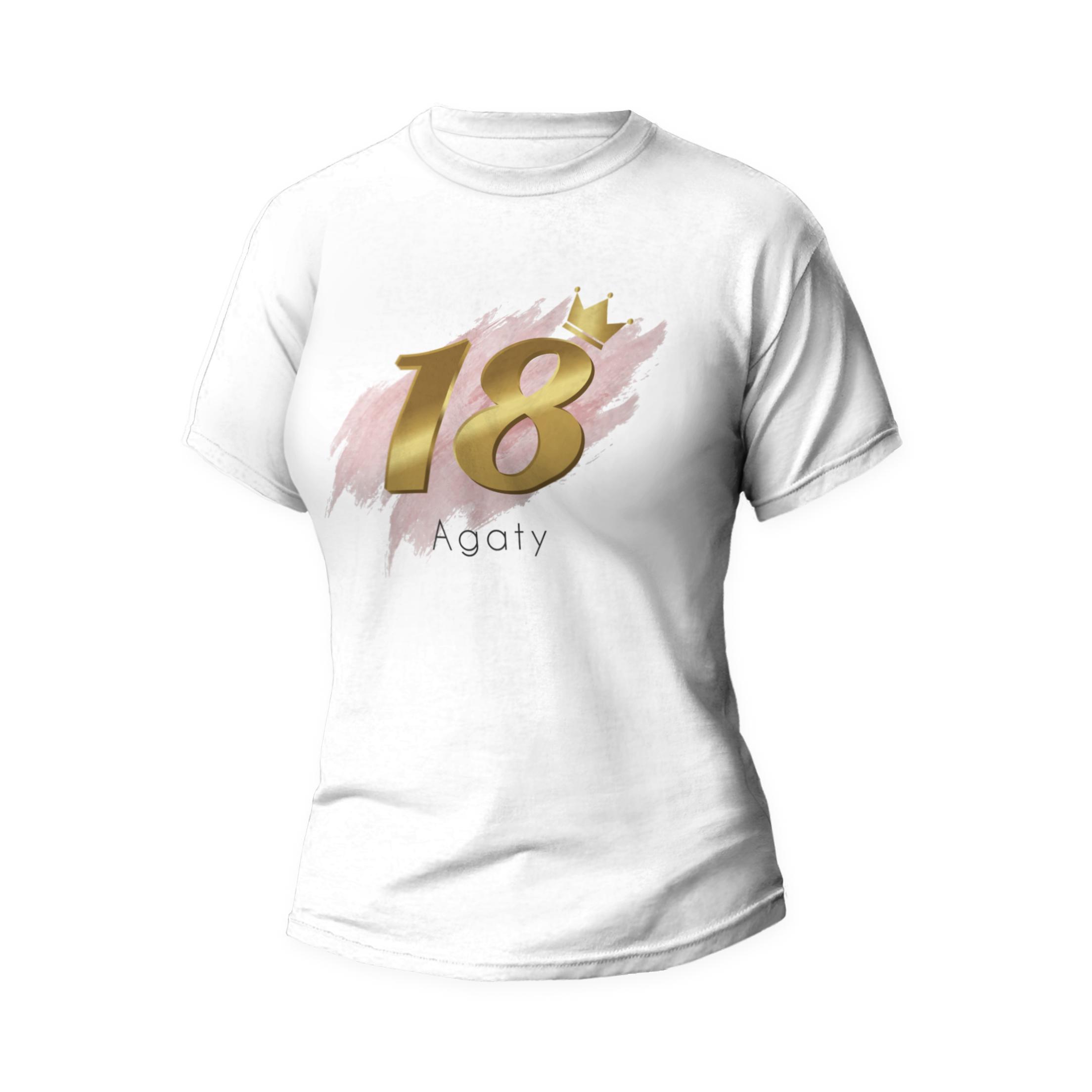 Rozmiar S - koszulka damska z własnym nadrukiem na urodziny - 18 osiemnastka - biała