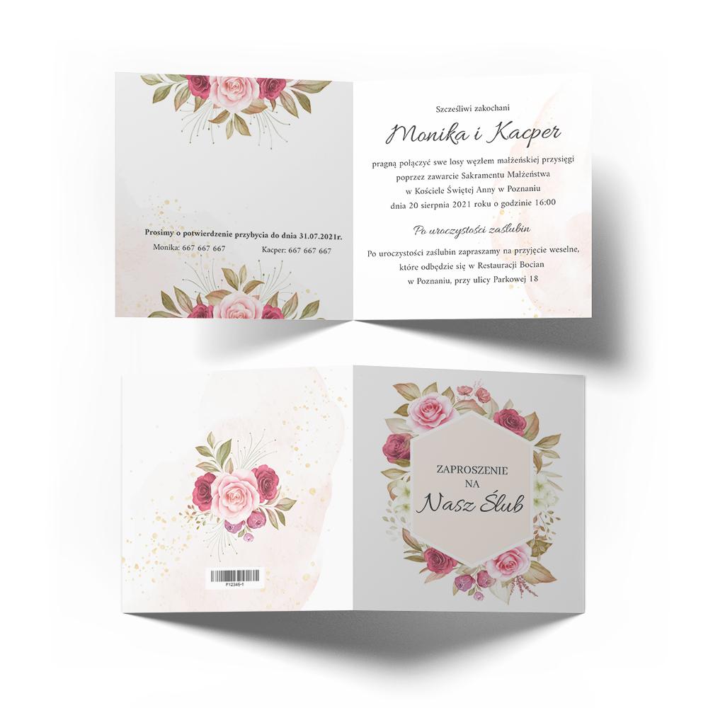 Zaproszenie ślubne pastelowy różany motyw