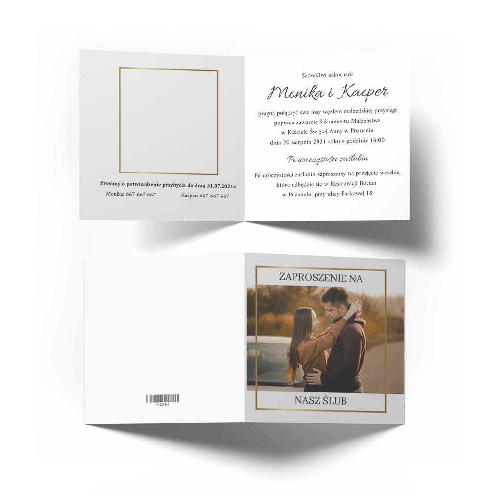 Zaproszenia ślubne na ślub ze zdjęciem minimalistyczne złote glamour