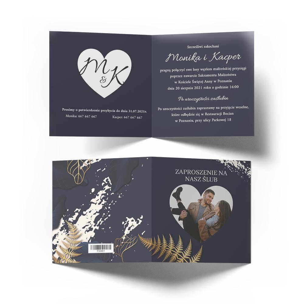 Zaproszenia ślubne na ślub ze zdjęciem złote granatowe glamour