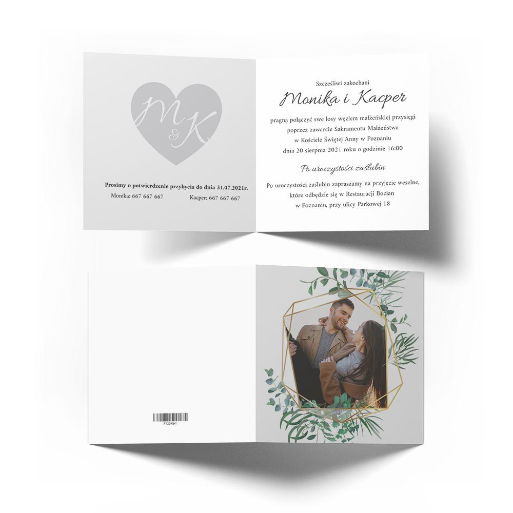 Zaproszenia ślubne na ślub ze zdjęciem geometryczne rustykalne liście zielone złote