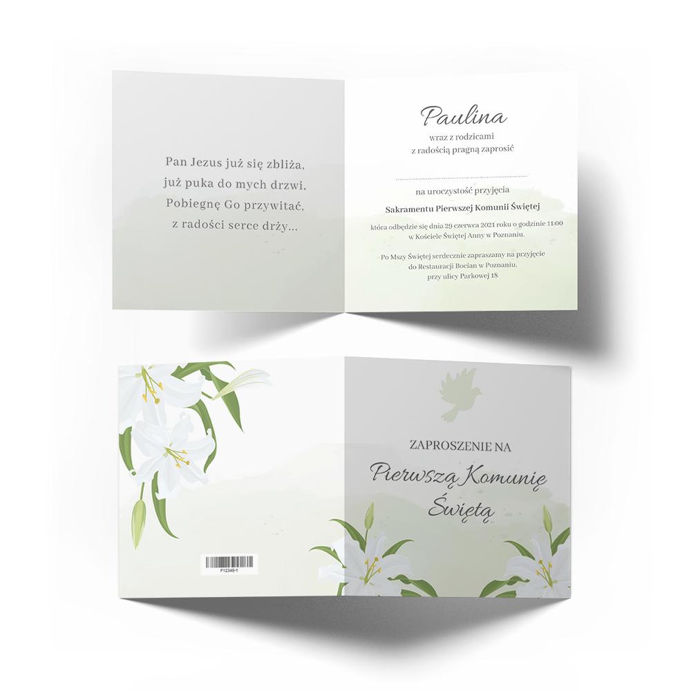 Personalizowane zaproszenia na komunię świętą komunijne kwiatowe