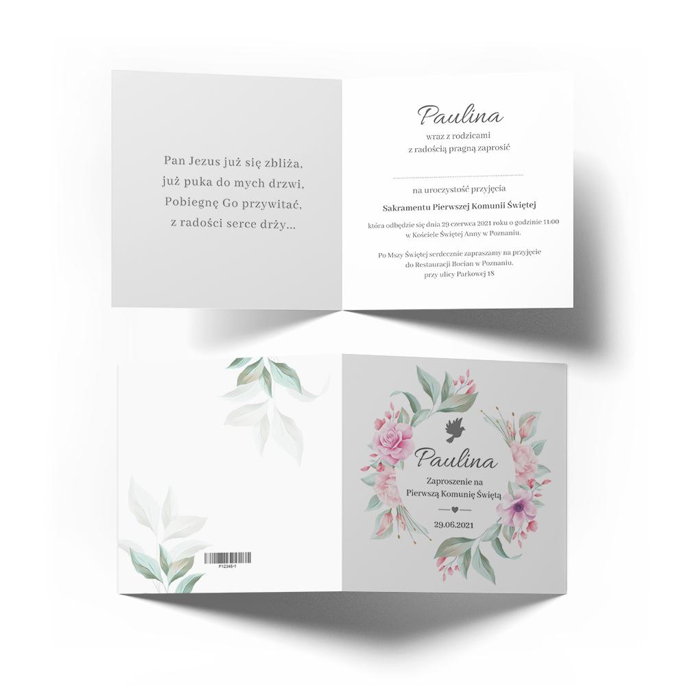Personalizowane zaproszenia na komunię świętą komunijne kwiatowe dla dziewczynki