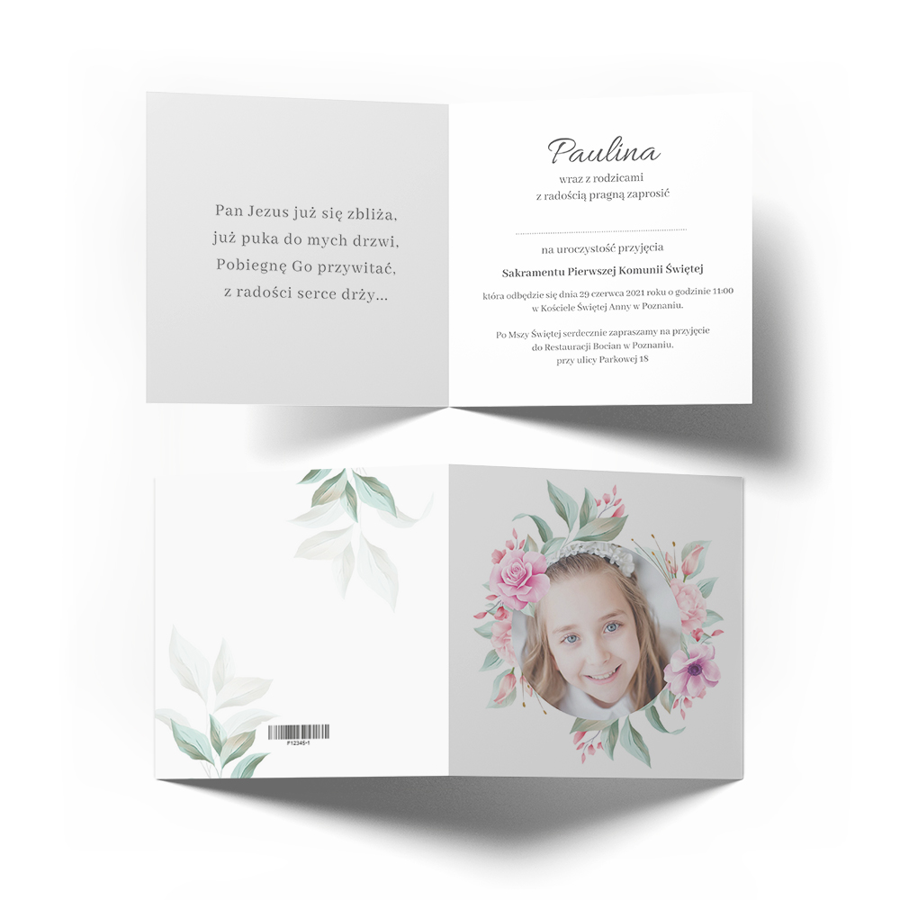 Personalizowane zaproszenia ze zdjęciem na komunię świętą komunijne kwiatowe dla dziewczynki