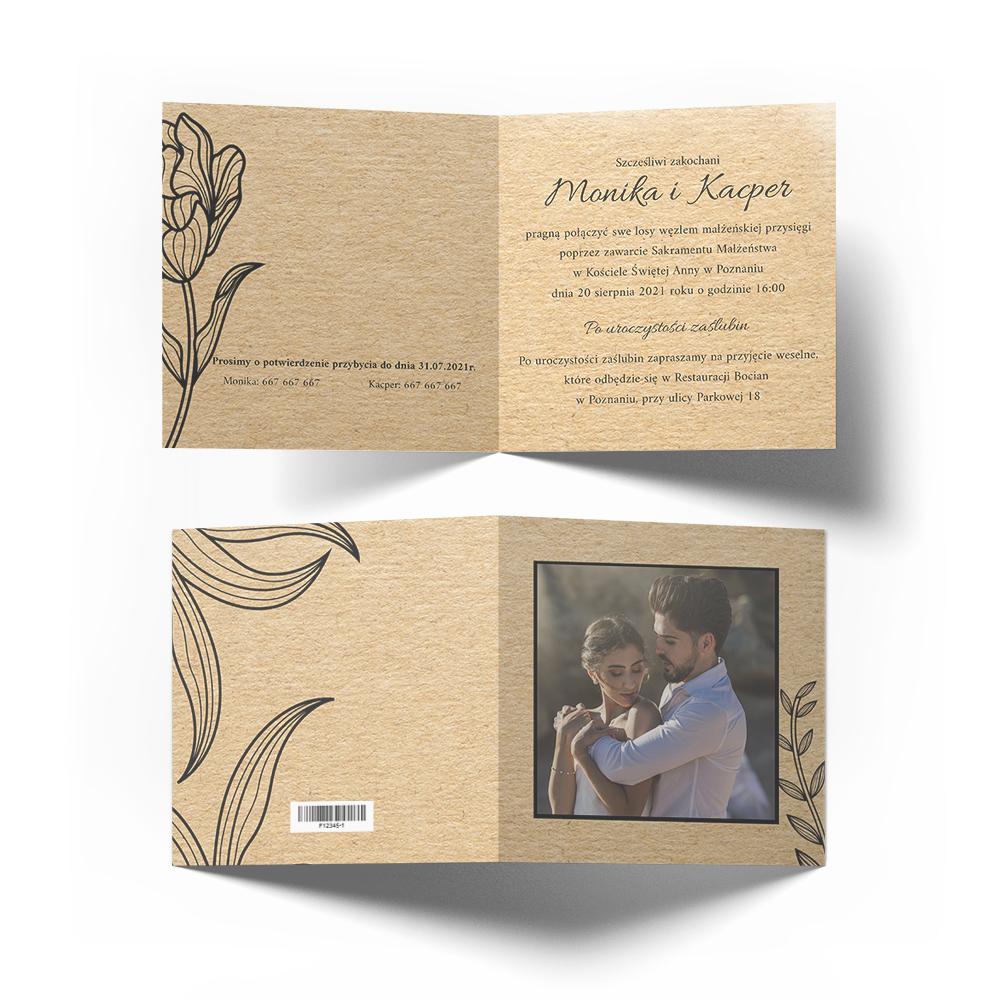 Zaproszenia ślubne na ślub eco ze zdjęciem kwiaty