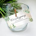 Bileciki podziękowania dla gości weselnych z tekstem 25 sztuk rustykalne zielone liście