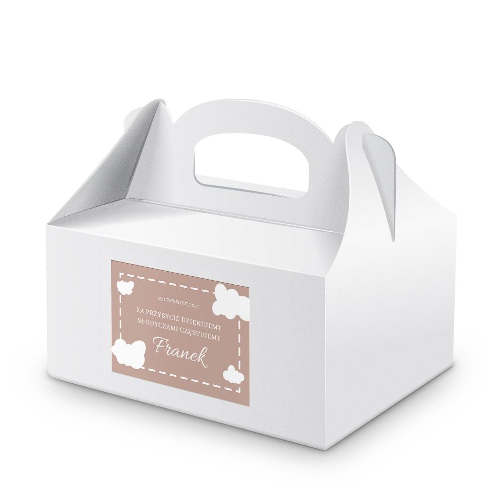 Naklejki etykiety na ciasto urodziny roczek z imieniem podziękowania dla gości pastelowe chmurki