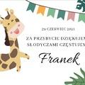 Naklejki etykiety na ciasto urodziny roczek z imieniem podziękowania dla gości  kolorowe żyrafa