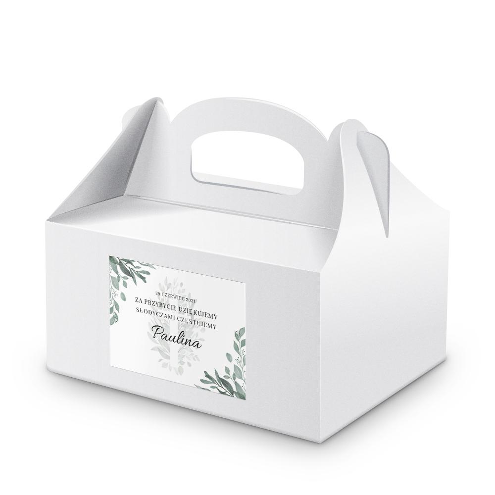 Naklejki etykiety na ciasto komunijne z imieniem podziękowania na chrzest rustykalne botaniczne