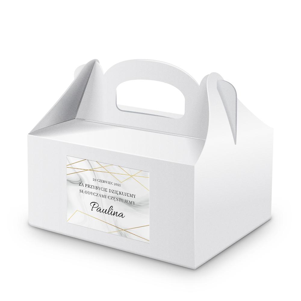 Naklejki etykiety na ciasto komunijne z imieniem podziękowania komunijne złote geometryczne glamour