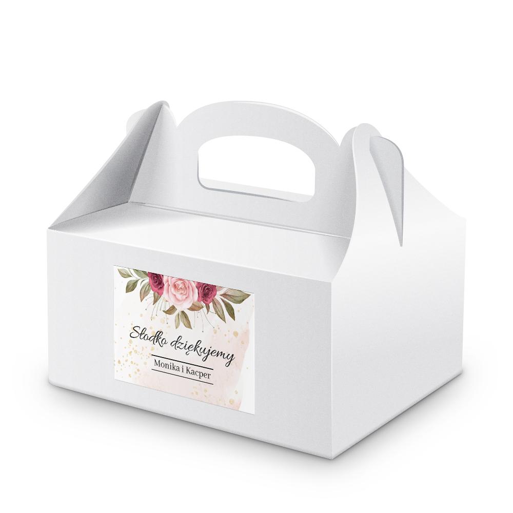 Naklejki na ciasto weselne z imieniem podziękowania dla gości pastelowy różany motyw