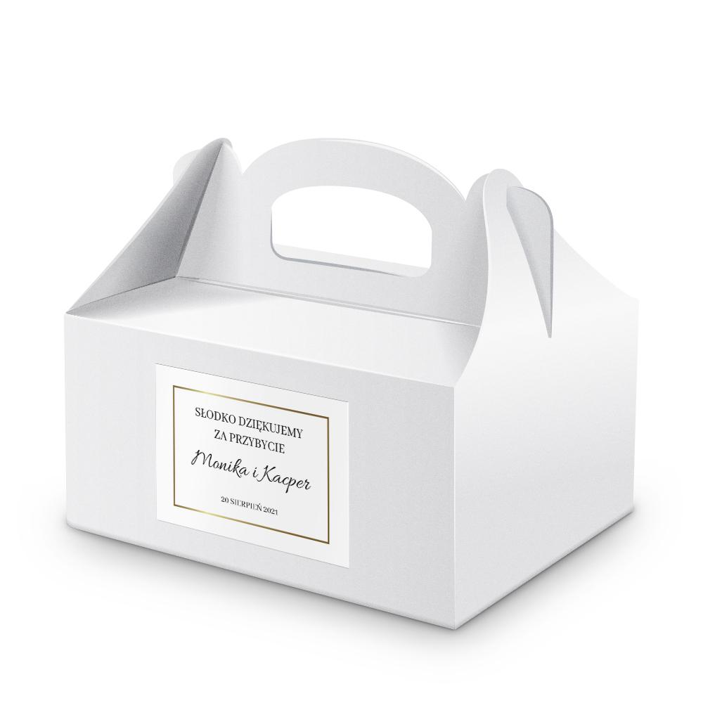 Naklejki na ciasto weselne z imieniem podziękowania dla gości minimalistyczne złote glamour