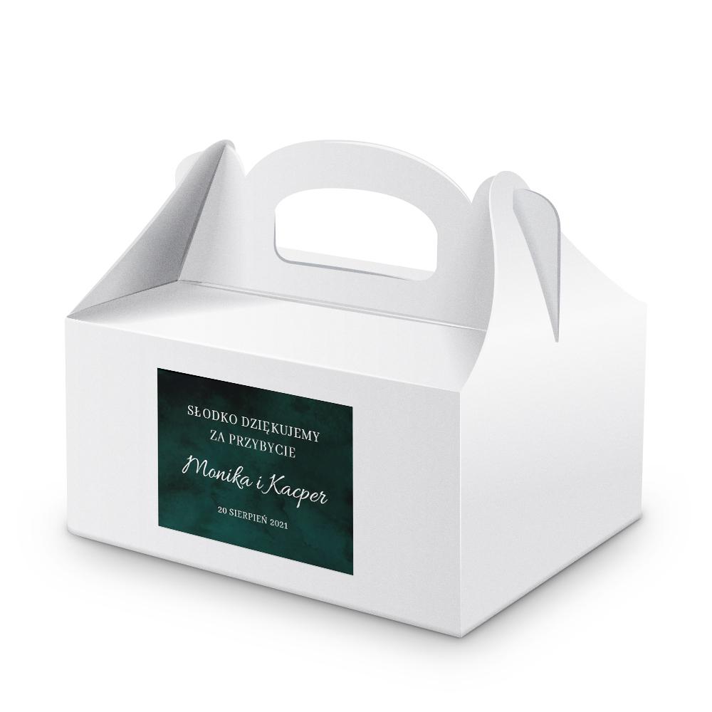 Naklejki na ciasto weselne z imieniem podziękowania dla gości butelkowa zieleń