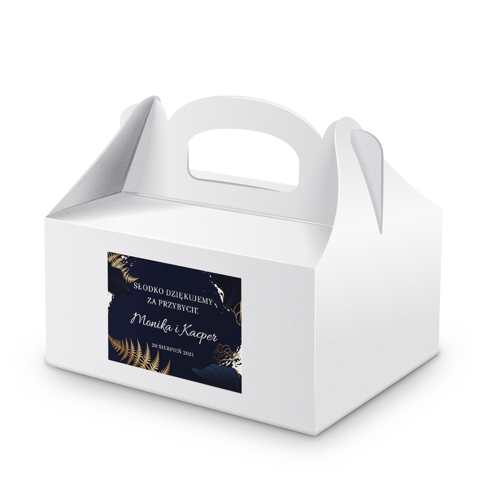 Naklejki na ciasto weselne z imieniem podziękowania dla gości złote granatowe glamour