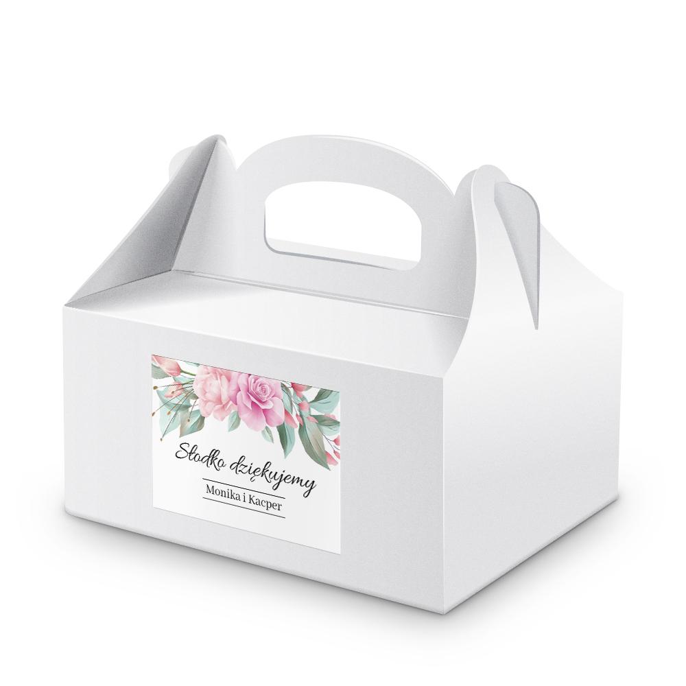 Naklejki na ciasto weselne z imieniem podziękowania dla gości kwiatowe glamor