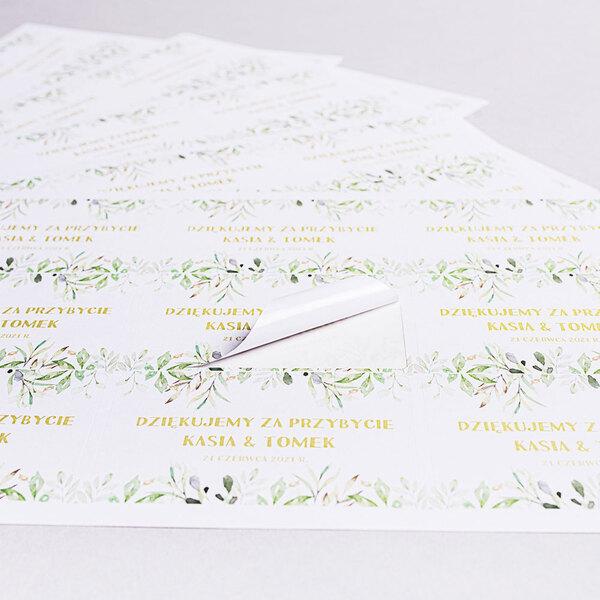 Naklejki na ciasto weselne z imieniem podziękowania dla gości geometryczne rustykalne liście zielone złote