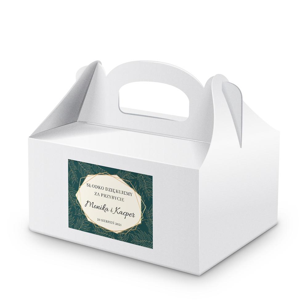 Naklejki na ciasto weselne z imieniem podziękowania dla gości geometryczne złote glamour butelkowa zieleń