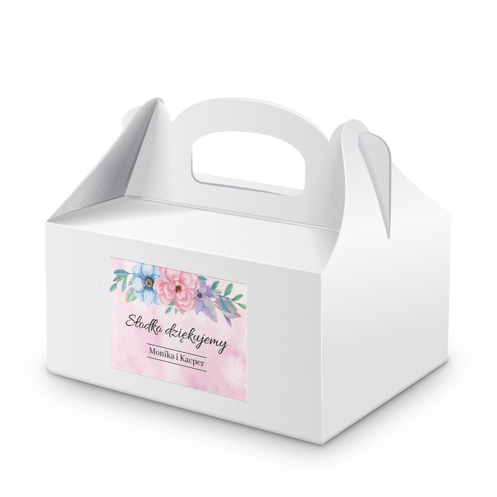 Naklejki na ciasto weselne z imieniem podziękowania dla gości kwiatowe kolorowe