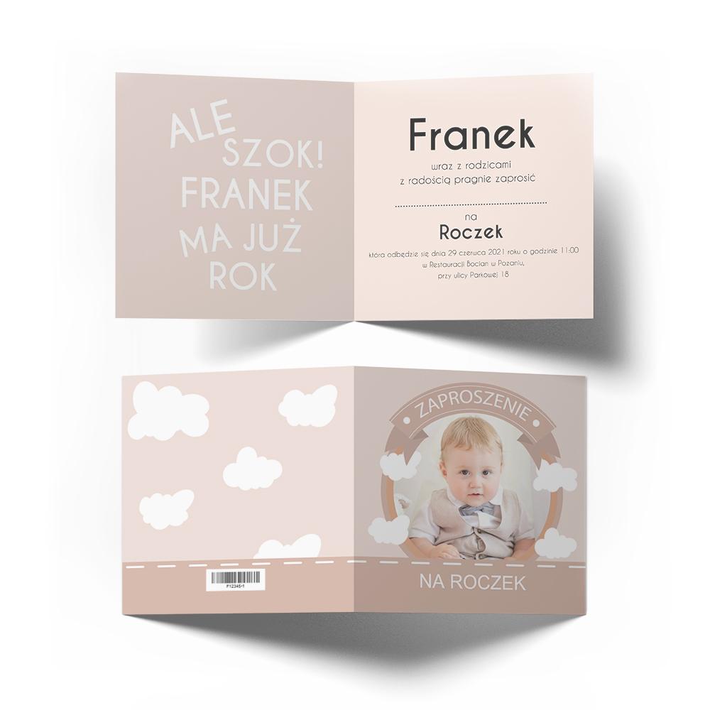 Zaproszenia na 1 urodziny roczek ze zdjęciem dziecka pastelowe chmurki