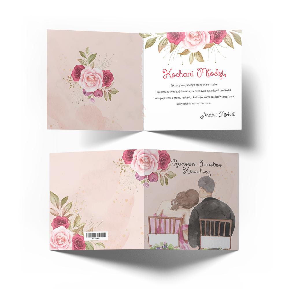 Kartka na ślub wesele ślubna z życzeniami kwiatowa róże młoda para