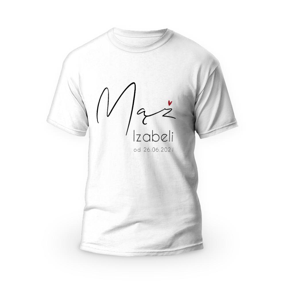 Rozmiar L - koszulka męska z własnym nadrukiem dla męża - biała
