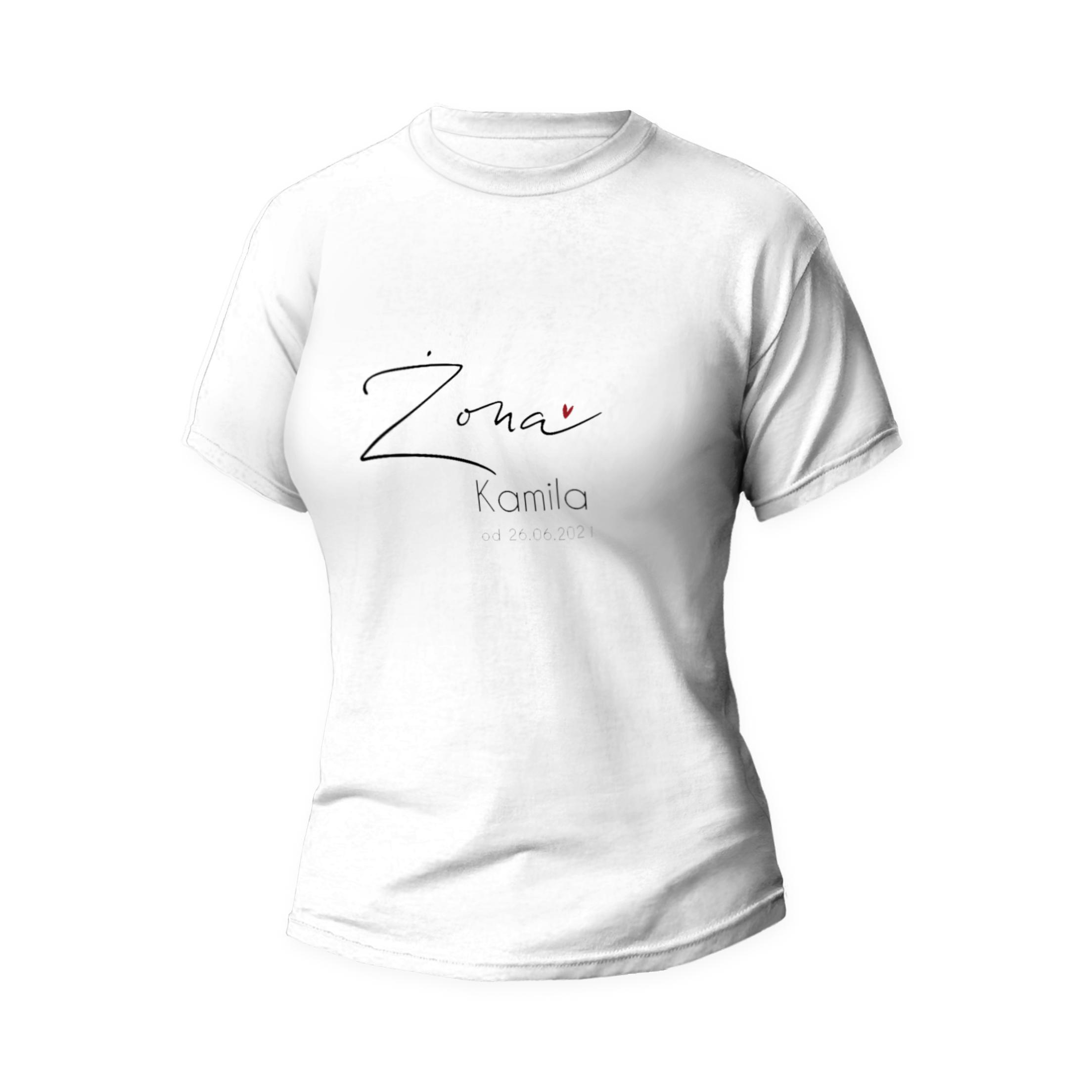 Rozmiar L - koszulka damska z własnym nadrukiem dla żony - biała