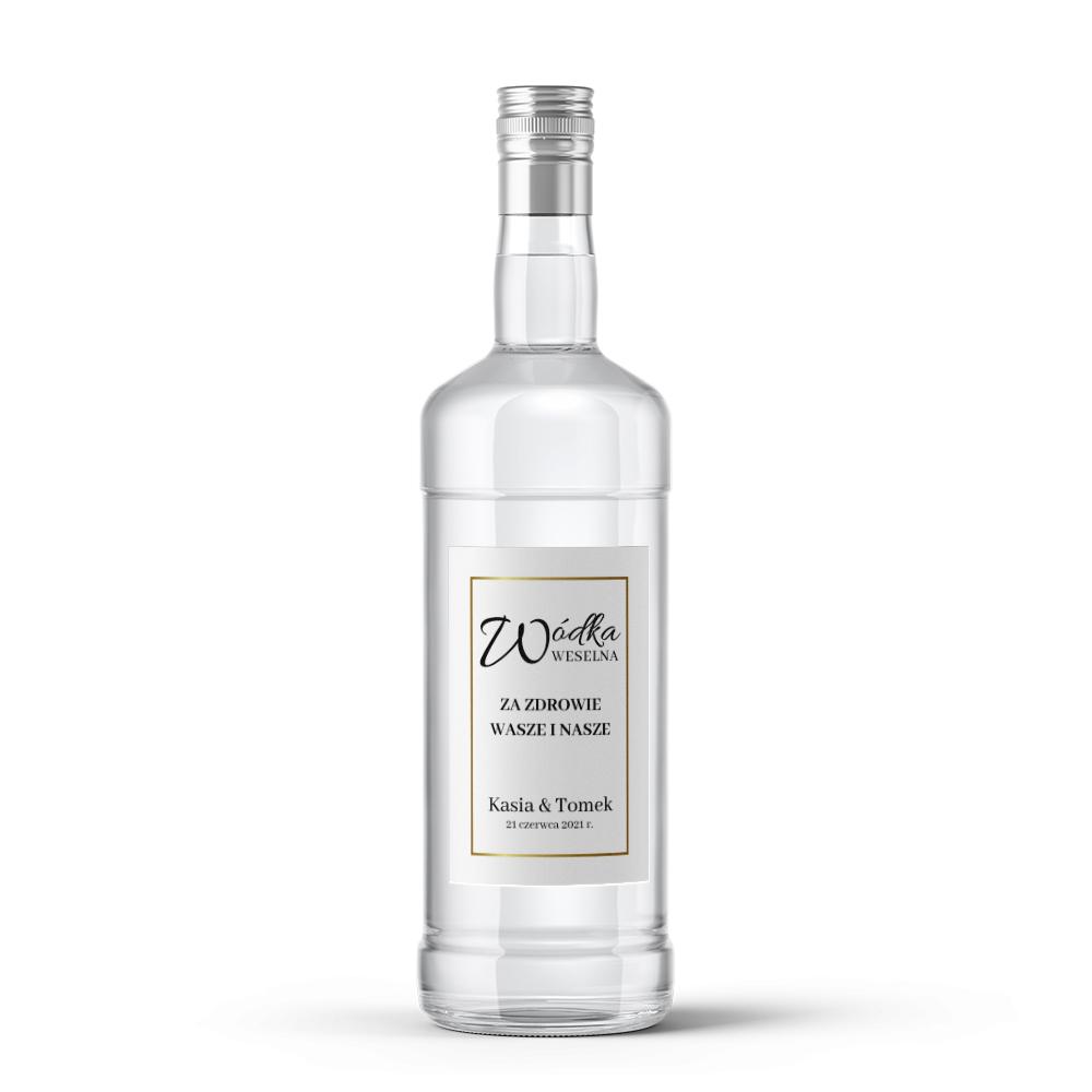 Etykiety naklejki na wódkę weselną alkohol minimalistyczne złote glamour