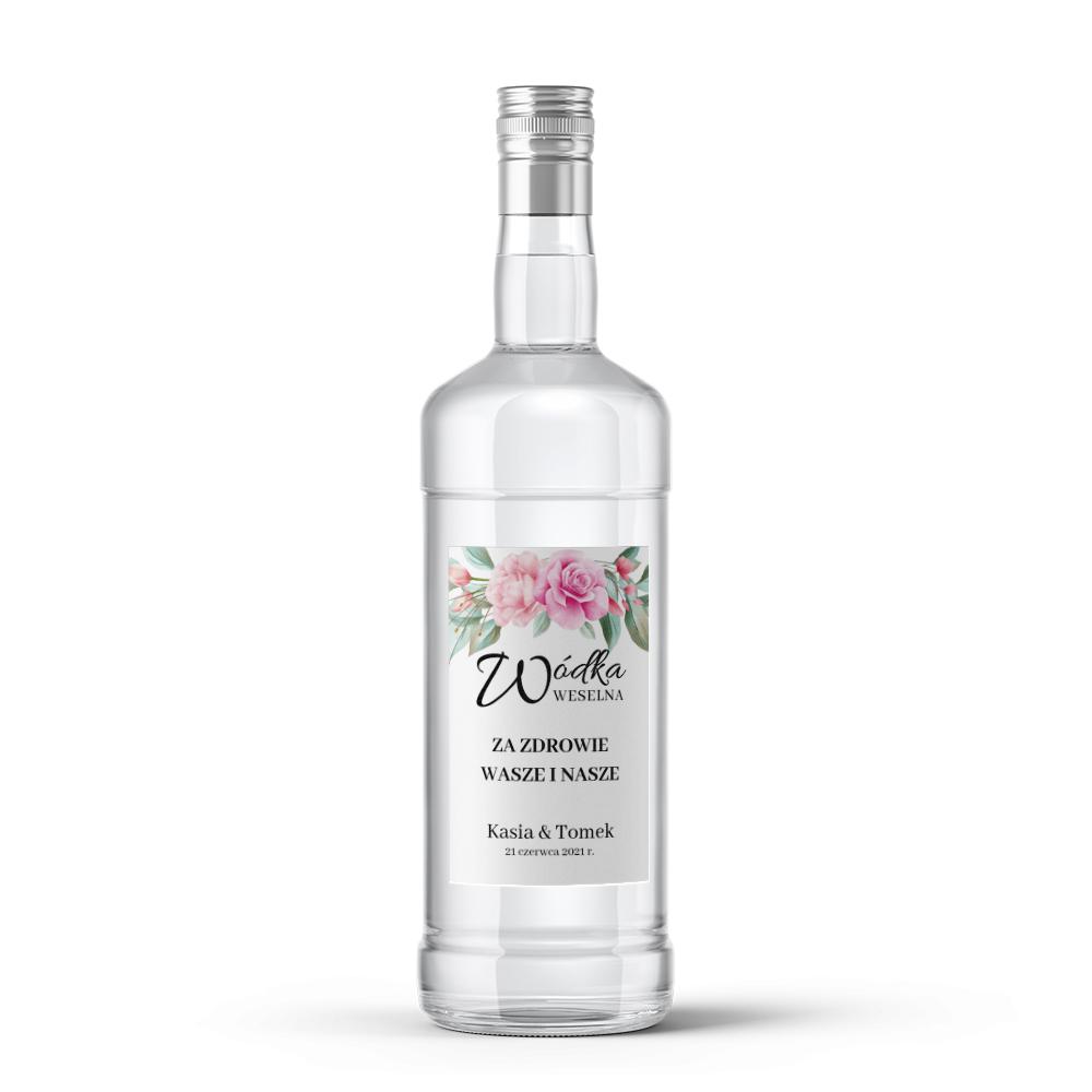 Etykiety naklejki na wódkę weselną alkohol kwiatowe glamour