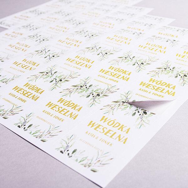 Etykiety naklejki na wódkę weselną alkohol geometryczne rustykalne liście zielone złote