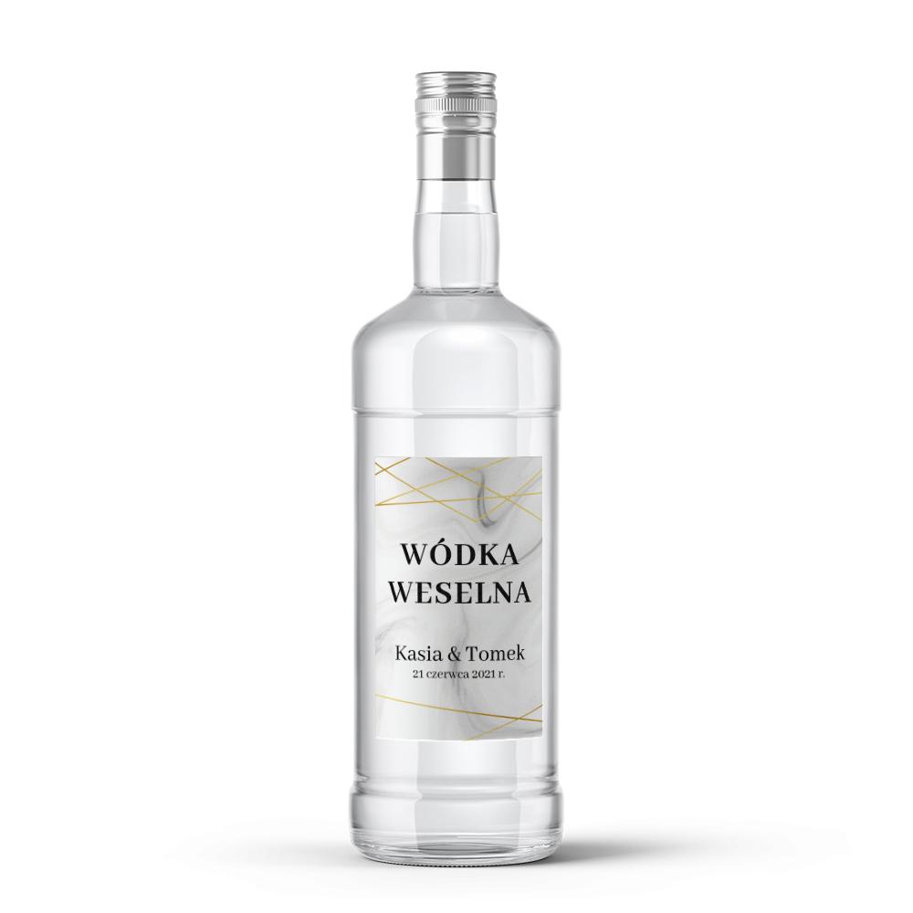 Etykiety naklejki na wódkę weselną alkohol geometryczne złote glamour