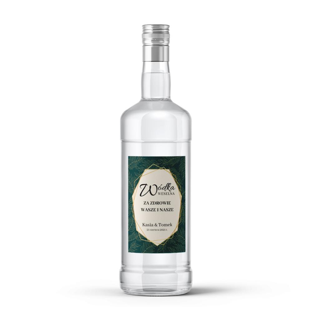 Etykiety naklejki na wódkę weselną alkohol geometryczne złote glamour butelkowa zieleń