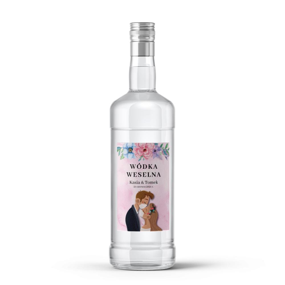 Etykiety naklejki na wódkę weselną alkohol kwiatowe zabawne