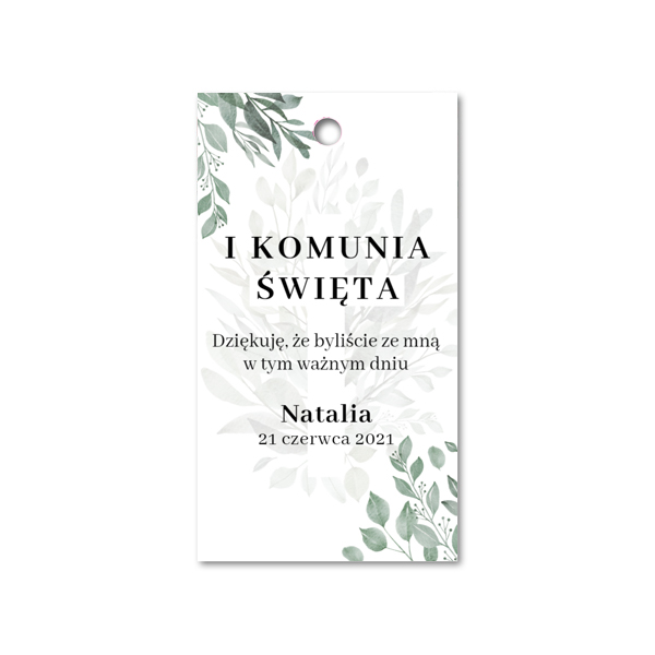Zawieszki ozdobne podziękowania komunijne rustykalne botaniczne krzyż