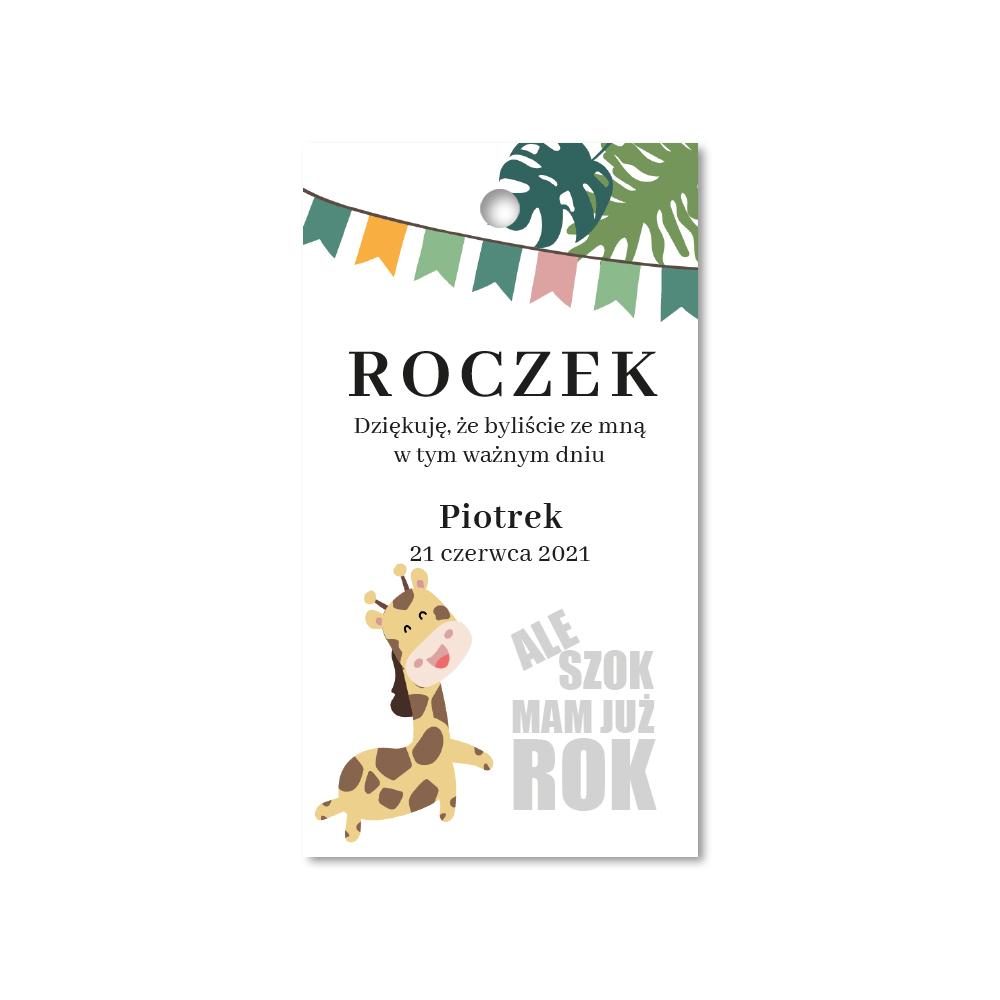 Zawieszki ozdobne podziękowania na roczek kolorowe żyrafa
