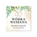 Zawieszki na alkohol wódkę weselną kwadratowe z imionami własny tekst rystykalne zielone liście