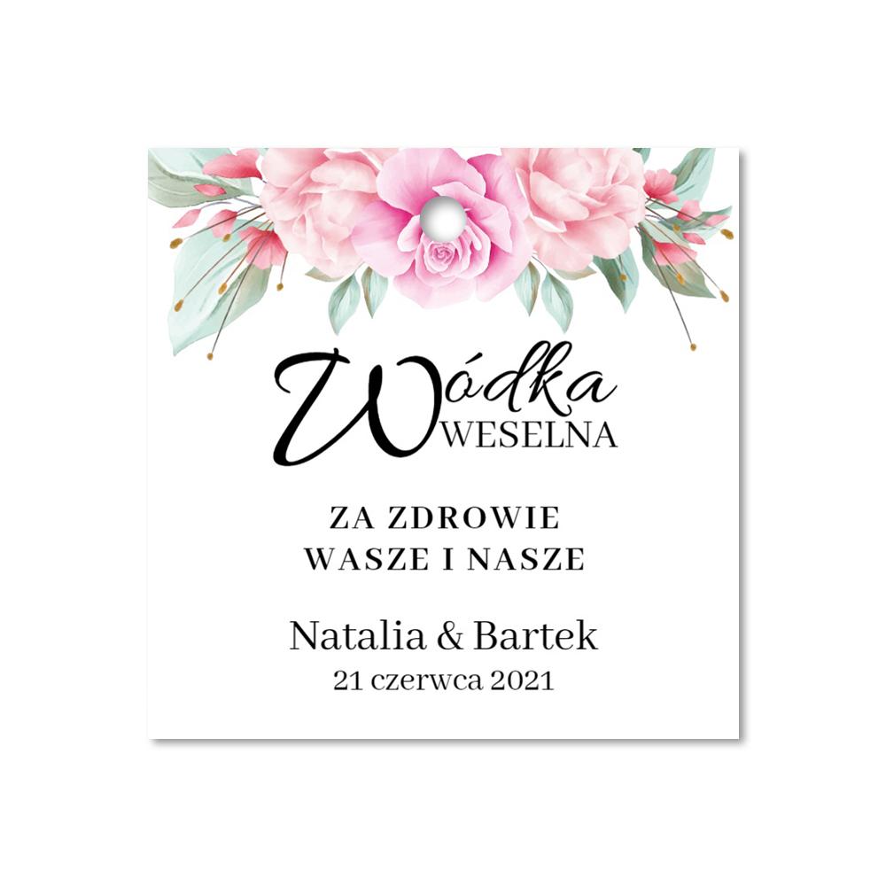 Zawieszki na alkohol wódkę weselną kwadratowe z imionami własny tekst złote kwiatowe glamour