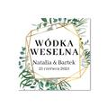 Zawieszki na alkohol wódkę weselną kwadratowe z imionami własny tekst geometryczne rustykalne liście zielone złote