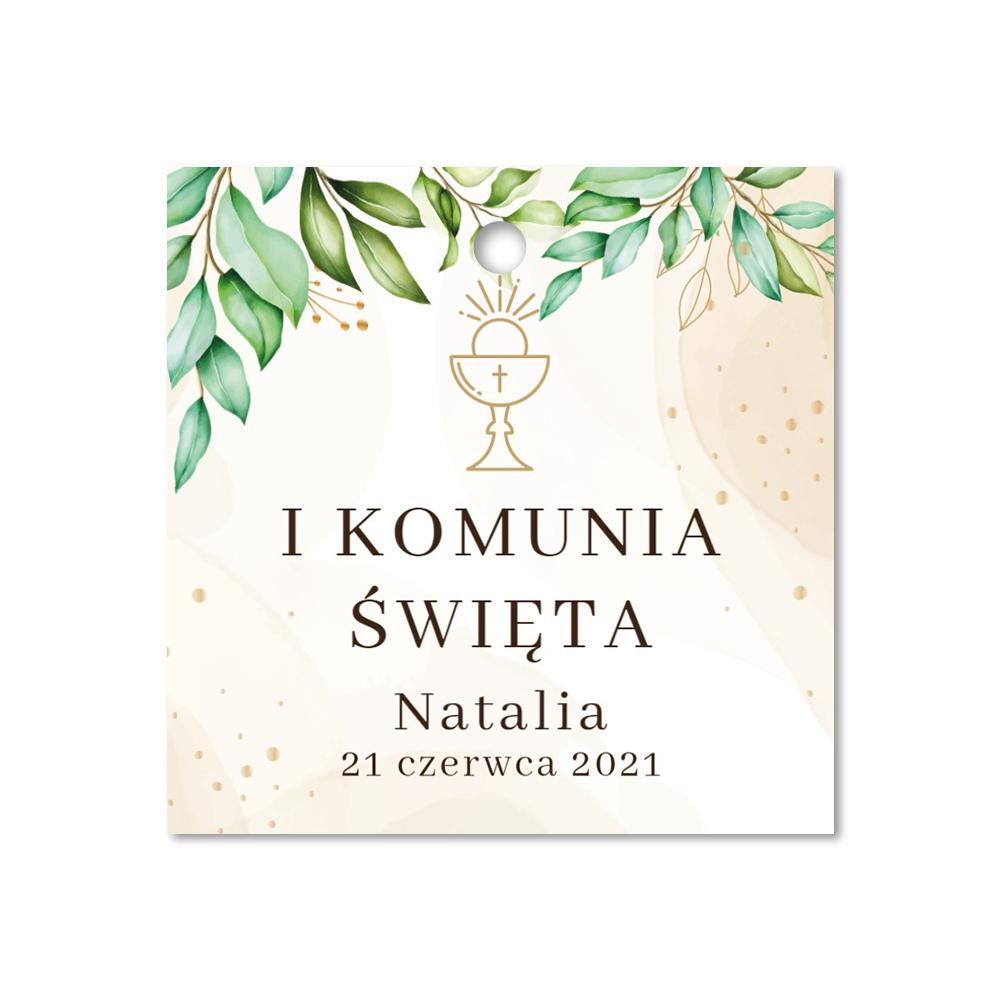 Zawieszki ozdobne dekoracyjne podziękowania komunijne kwadratowe rustykalne botaniczne hostia