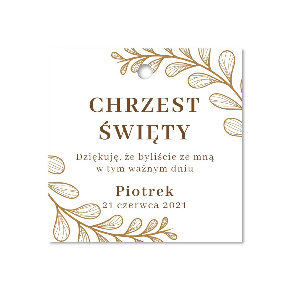 Zawieszki ozdobne kwadratowe podziękowania dla gości chrzest złote liście glamour